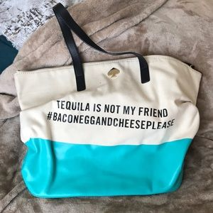 Large Kate Spade Canvas Tote Turquoise